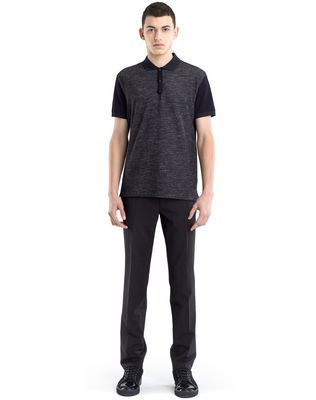 TWEED-EFFECT MERCERIZED POLO SHIRT