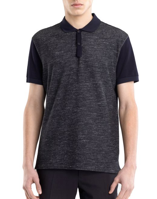 lanvin tweed-effect mercerized polo shirt men