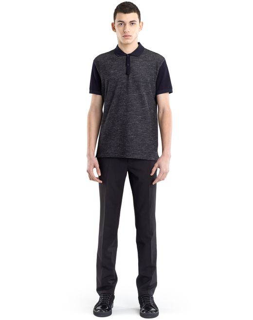 lanvin polo mercerisé aspect tweed homme