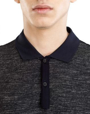 LANVIN TWEED-EFFECT MERCERIZED POLO SHIRT Polos & T-Shirts U a