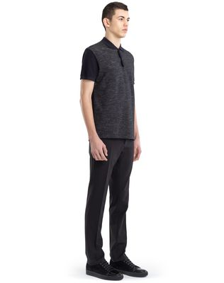 LANVIN TWEED-EFFECT MERCERIZED POLO SHIRT Polos & T-Shirts U e