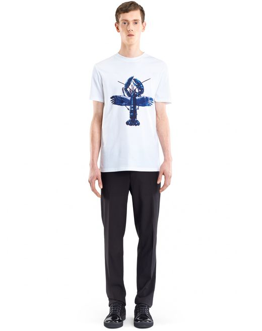 "lanvin white ""flying lobster"" t-shirt men"