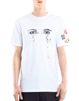 "LANVIN Polos & T-Shirts U WHITE ""PENCILS SHAVINGS"" T-SHIRT BY CÉDRIC RIVRAIN  F"