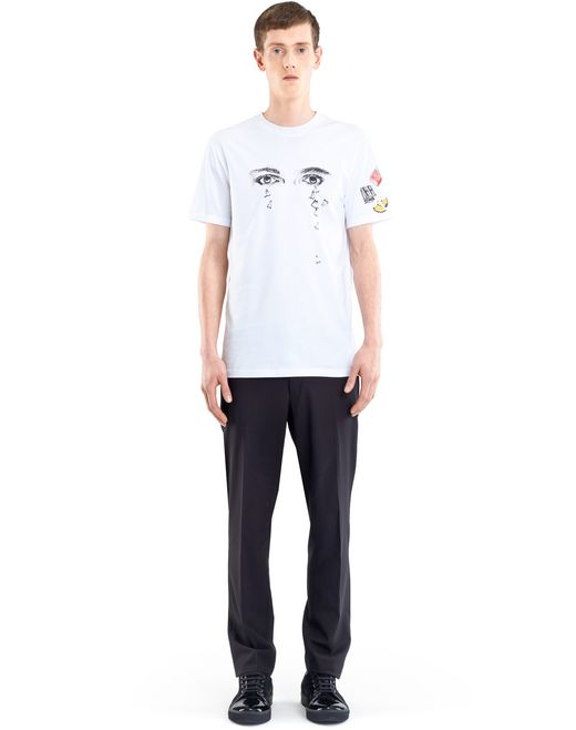 "lanvin white ""pencils shavings"" t-shirt by cédric rivrain  men"