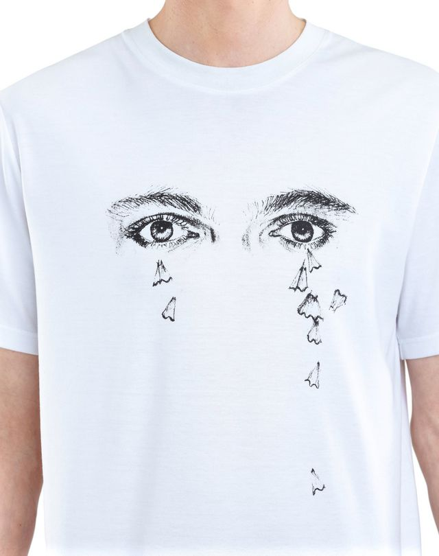 "LANVIN WHITE ""PENCILS SHAVINGS"" T-SHIRT BY CÉDRIC RIVRAIN  Polos & T-Shirts U a"
