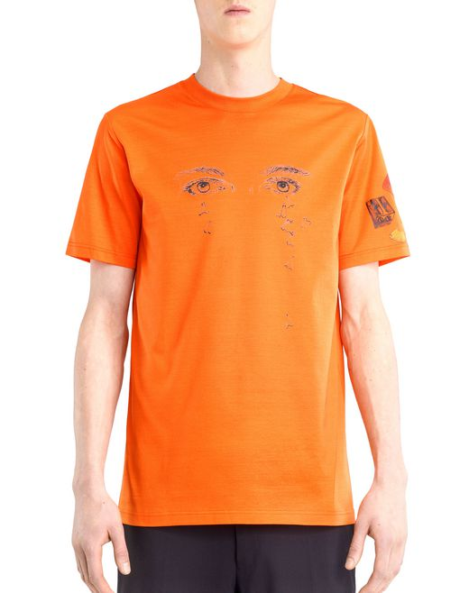 "lanvin orange ""pencils shavings"" t-shirt by cédric rivrain men"