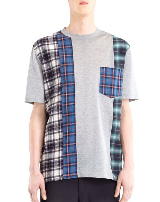 lanvin checked patchwork t-shirt men