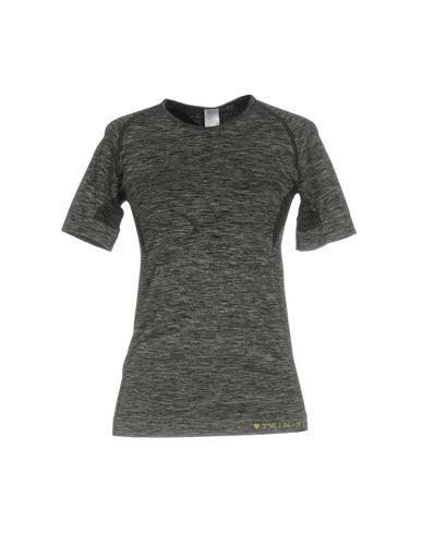 TWIN-SET LINGERIE Tricot de peau femme. jersey, logo, imprimé bicolore, manches courtes, col rond, sans poche