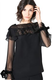 ALBERTA FERRETTI MILADY BLACK BLOUSE SHIRT Woman a