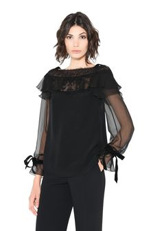 ALBERTA FERRETTI MILADY BLACK BLOUSE SHIRT Woman r
