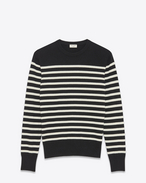 SAINT LAURENT Cashmere Tops U MARINÈRE Sailor Sweater in Black and Ivory Cashmere f