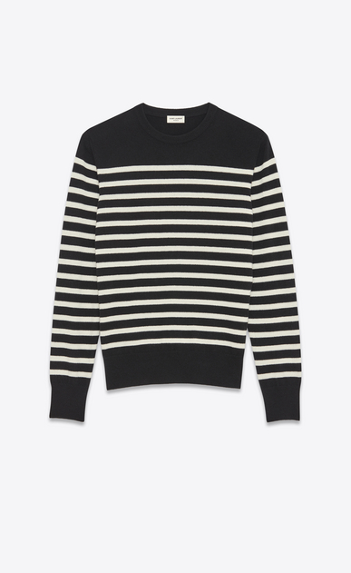 SAINT LAURENT Cashmere Tops Man MARINÈRE Sailor Sweater in Black and Ivory Cashmere a_V4