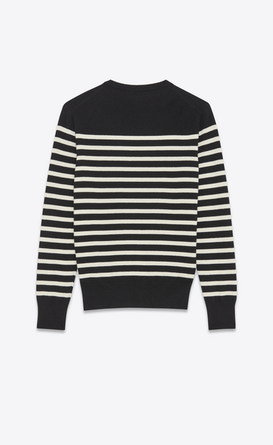 SAINT LAURENT Cashmere Tops Man MARINÈRE Sailor Sweater in Black and Ivory Cashmere b_V4