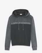 "SAINT LAURENT Sportswear Tops U ""LOVE ME FOREVER OR NEVER"" Hoodie in Washed Dark Grey and Black French Terrycloth f"