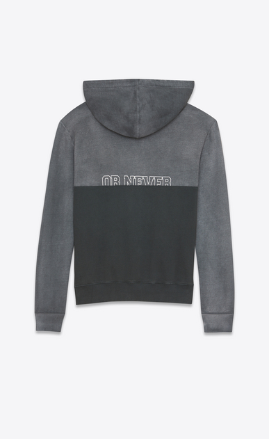 "SAINT LAURENT Sportswear Tops U ""LOVE ME FOREVER OR NEVER"" Hoodie in Washed Dark Grey and Black French Terrycloth b_V4"