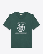 SAINT LAURENT T-Shirt and Jersey U Short Sleeve SAINT LAURENT UNIVERSITÉ T-Shirt in Dark Green and White Cotton Jersey f