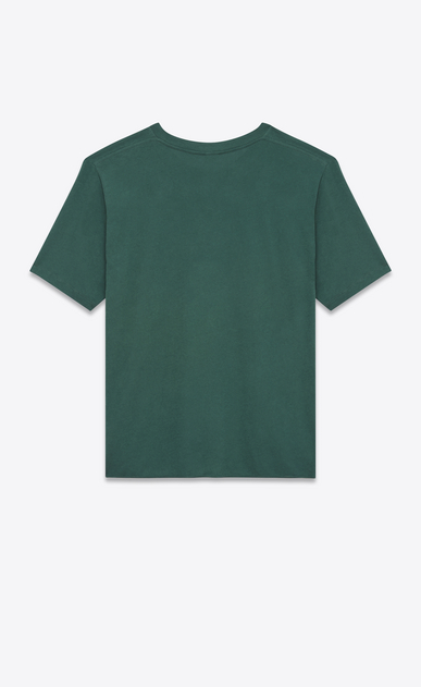SAINT LAURENT T-Shirt and Jersey U Short Sleeve SAINT LAURENT UNIVERSITÉ T-Shirt in Dark Green and White Cotton Jersey b_V4