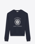 SAINT LAURENT Sportswear Tops U SAINT LAURENT UNIVERSITÉ Sweatshirt in Washed Navy Blue and White French Terrycloth f