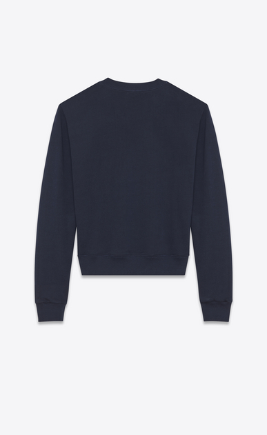 SAINT LAURENT Sportswear Tops U SAINT LAURENT UNIVERSITÉ Sweatshirt in Washed Navy Blue and White French Terrycloth b_V4
