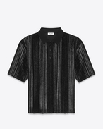 SAINT LAURENT Polos U Boxy Striped Polo Shirt in Black Velour and Black and Silver Glitter f