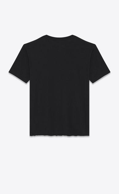 SAINT LAURENT T-Shirt and Jersey U oversized SAINT LAURENT Signature T-Shirt in Black and Metallic Blue Cotton Jersey b_V4