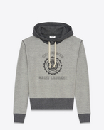 SAINT LAURENT Sportswear Tops U SAINT LAURENT UNIVERSITÉ Hoodie in Heather Grey French Terrycloth f