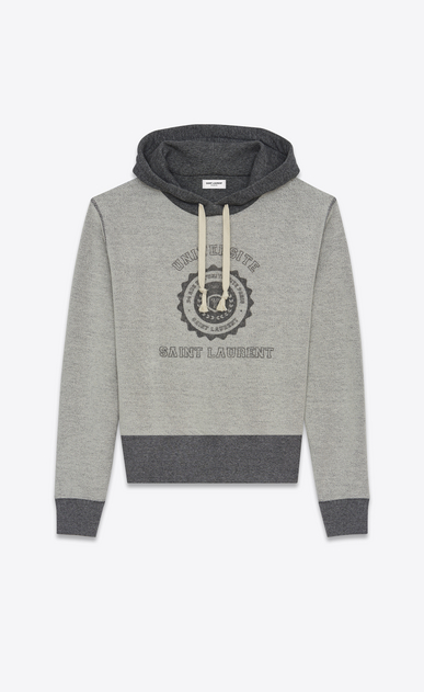 SAINT LAURENT Sportswear Tops U SAINT LAURENT UNIVERSITÉ Hoodie in Heather Grey French Terrycloth a_V4