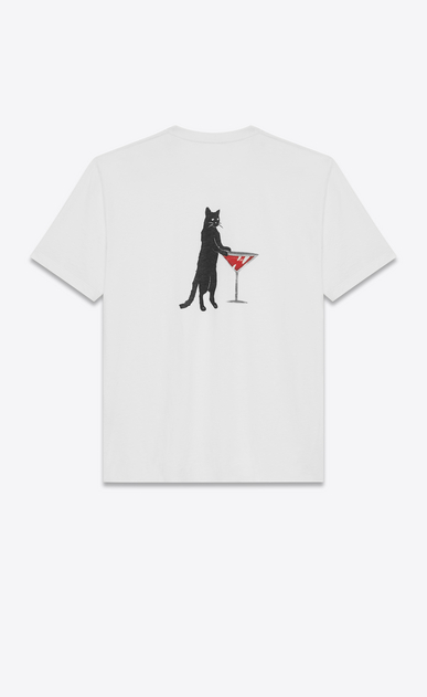 SAINT LAURENT T-Shirt and Jersey U OVERSIZED SHORT SLEEVE T-SHIRT WITH CAT ON THE BACK IN IVORY, BLACK AND RED COTTON JERSEY v4