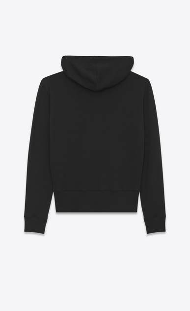 SAINT LAURENT Sportswear Tops Man SAINT LAURENT Hoodie in Black and Metallic Blue French Terrycloth b_V4