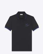 SAINT LAURENT Polos U SAINT LAURENT Embroidered Polo Shirt in Black and Metallic Blue Piqué Cotton f