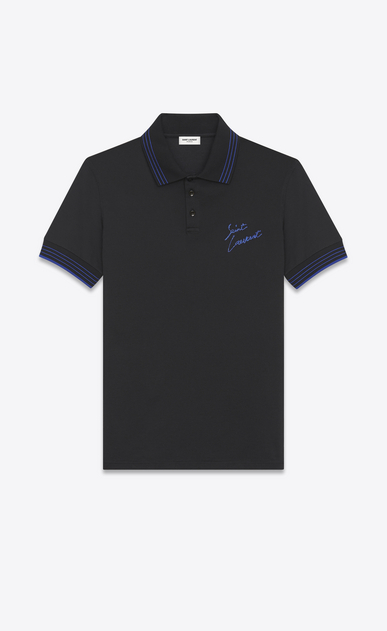 SAINT LAURENT Polo U Polo SAINT LAURENT Embroidered in cotone piqué nera e blu metallizzato a_V4