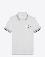 SAINT LAURENT Polos U SAINT LAURENT Polo Shirt in White and Black Piqué Cotton f