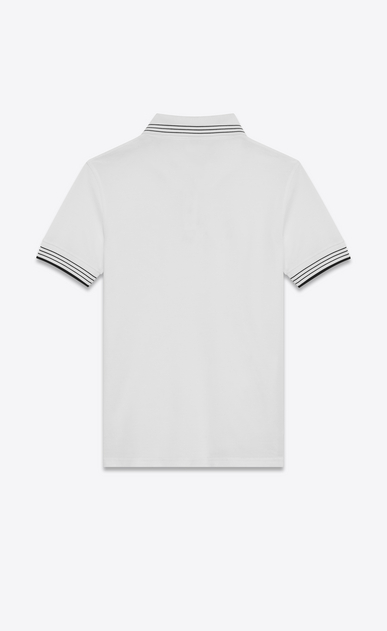 SAINT LAURENT Polos U SAINT LAURENT Polo Shirt in White and Black Piqué Cotton b_V4