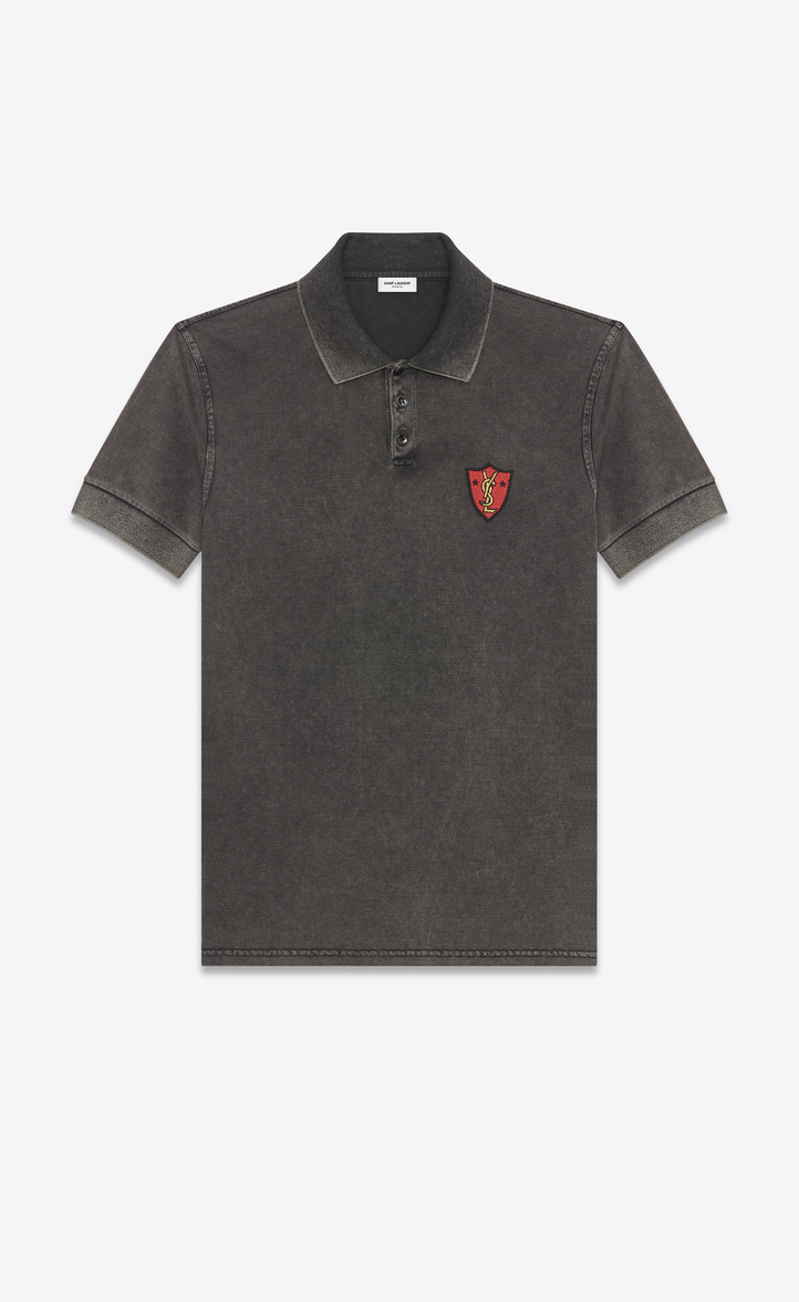 0f50468f258 YSL Shield Patch Polo Shirt in Washed Black Piqué Cotton, Front view