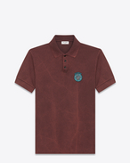 "SAINT LAURENT Polos U ""MOUJIK"" Patch Polo Shirt in Washed Burgundy Piqué Cotton f"