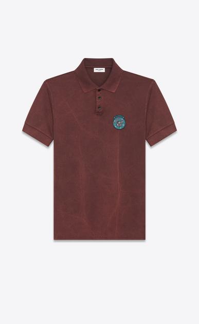 """SAINT LAURENT Polos U """"MOUJIK"""" Patch Polo Shirt in Washed Burgundy Piqué Cotton a_V4"""