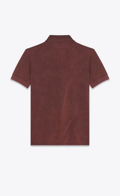 "SAINT LAURENT Polos U ""MOUJIK"" Patch Polo Shirt in Washed Burgundy Piqué Cotton b_V4"