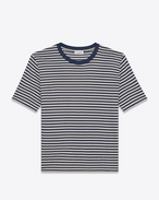 SAINT LAURENT T-Shirt and Jersey U Short Sleeve Nautical T-Shirt in Ivory and Navy Blue Cotton Jersey f