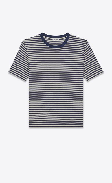 SAINT LAURENT T-Shirt and Jersey U Short Sleeve Nautical T-Shirt in Ivory and Navy Blue Cotton Jersey a_V4