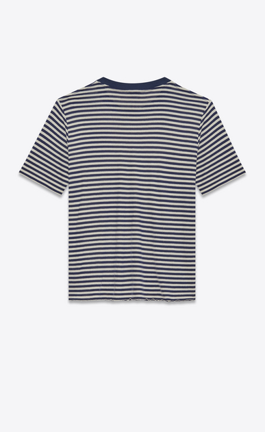 SAINT LAURENT T-Shirt and Jersey U Short Sleeve Nautical T-Shirt in Ivory and Navy Blue Cotton Jersey b_V4