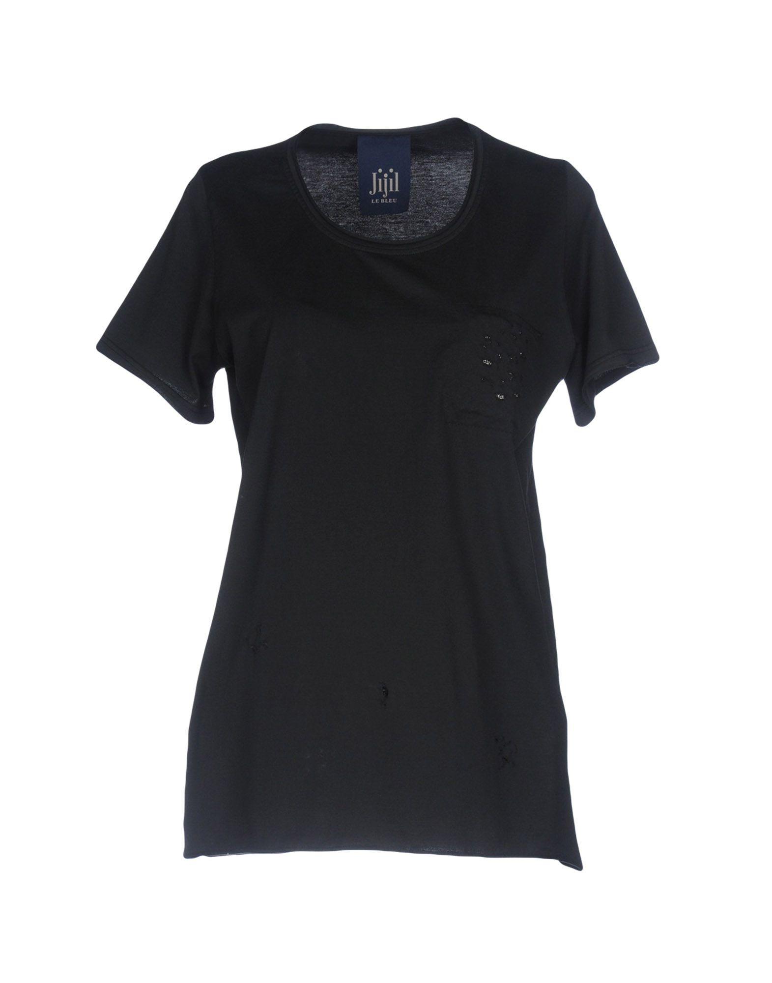 《送料無料》JIJIL LE BLEU レディース T シャツ ブラック M コットン 100%