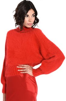 ALBERTA FERRETTI BOTTLENECK RED SWEATER Sweater D a