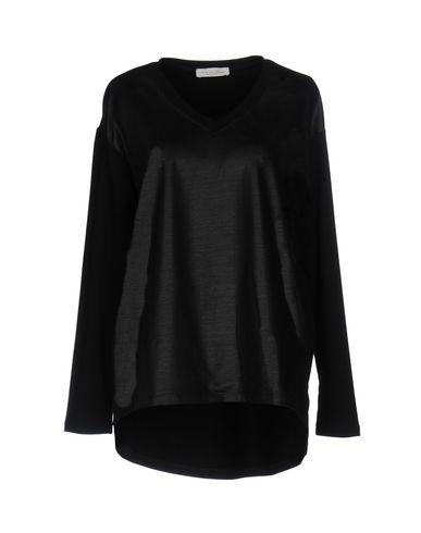 TWIN-SET LINGERIE Sweat-shirt femme. enduit, logo, uni, col en v, manches longues, sans poche, tissu élastique