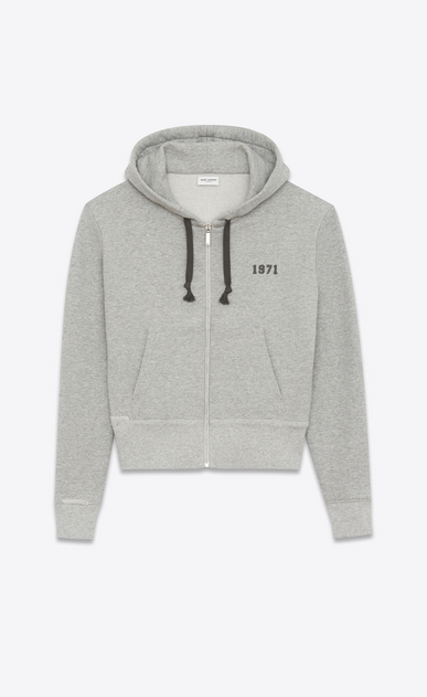 SAINT LAURENT Sportswear Tops U Zippered hoodie in a flecked gray knit with a 1971 print a_V4