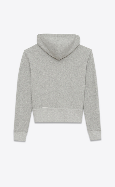 SAINT LAURENT Sportswear Tops U Zippered hoodie in a flecked gray knit with a 1971 print b_V4