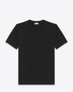 SAINT LAURENT T-Shirt and Jersey D Boyfriend T-shirt with short sleeves, a round neck and Y embroidery in black cotton jersey f