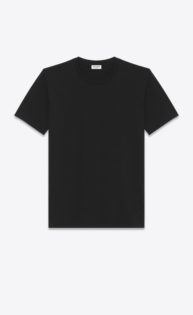 SAINT LAURENT T-Shirt and Jersey D Boyfriend T-shirt with short sleeves, a round neck and Y embroidery in black cotton jersey a_V4
