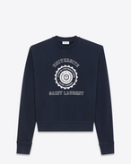 SAINT LAURENT Stricktops D Marineblaues Sweatshirt aus Fleece mit Saint Laurent Université-Print f
