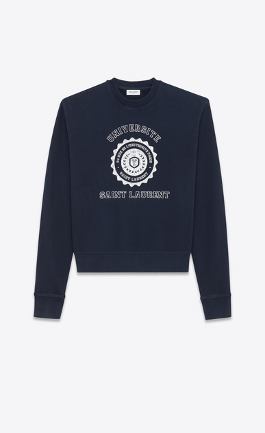 SAINT LAURENT Sportswear Tops Woman Saint Laurent Université sweatshirt in navy blue fleece a_V4