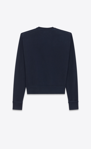 SAINT LAURENT Sportswear Tops Woman Saint Laurent Université sweatshirt in navy blue fleece b_V4